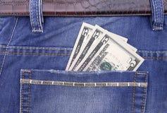 Billete de banco del dólar en bolsillo Imagen de archivo