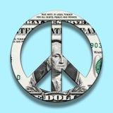 Billete de banco del dólar en símbolo de paz imagenes de archivo