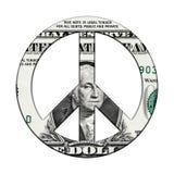 Billete de banco del dólar en símbolo de paz imagen de archivo