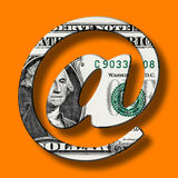 Billete de banco del dólar en símbolo del email del correo electrónico fotografía de archivo libre de regalías