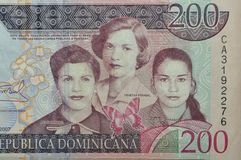 Billete de banco del dominican de la hermana de Mirabal Imagenes de archivo