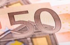 Billete de banco del euro cincuenta Imagen de archivo libre de regalías