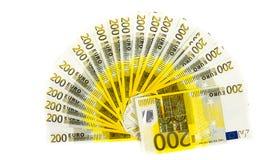 Billete de banco del euro del dinero 200 aislado en el fondo blanco Imágenes de archivo libres de regalías