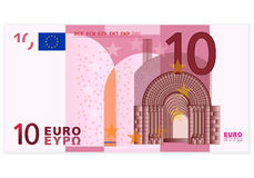 Billete de banco del euro diez Fotografía de archivo libre de regalías