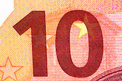 Billete de banco del euro diez en tiro macro imagen de archivo
