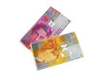 Billete de banco del franco suizo del CHF Imagenes de archivo