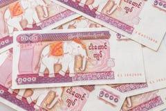 Billete de banco del kyat de Myanmar Fotografía de archivo