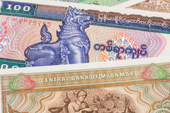 Billete de banco del kyat del dinero de Myanmar Fotos de archivo