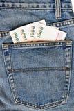 Billete de banco en el bolsillo Fotos de archivo