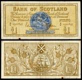 Billete de banco escocés viejo Foto de archivo libre de regalías