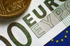 Billete de banco euro imagen de archivo