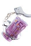 Billete de banco euro con las manillas Fotos de archivo
