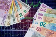 Billete de banco euro en carta Foto de archivo