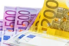 Billete de banco euro a partir del 200 y de 500 Fotografía de archivo libre de regalías