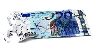 Billete de banco euro roto Fotografía de archivo libre de regalías