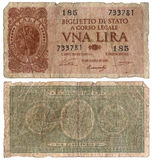 Billete de banco italiano viejo - una liras 1933 Foto de archivo