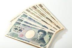 Billete de banco japonés 10000 yenes y 1000 yenes Fotos de archivo libres de regalías