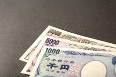 Billete de banco japonés 10000 yenes 5000 yenes y 1000 yenes Foto de archivo libre de regalías