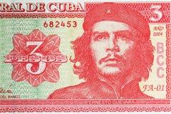 Billete de banco la República de Cuba 3 Pesos Ernesto Che Guevara Imagen de archivo libre de regalías