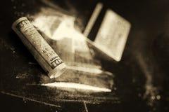 Billete de banco monocromático del dólar de la cocaína del rasguño fotografía de archivo