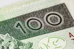 Billete de banco 100 PLN Imagen de archivo libre de regalías