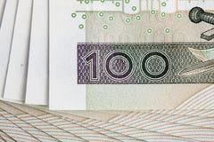 Billete de banco 100 PLN Imágenes de archivo libres de regalías