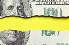 Billete de banco rasgado de los dólares Fotos de archivo libres de regalías