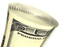 Billete de banco rodado del dólar aislado Imagenes de archivo