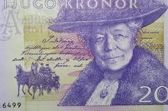 Billete de banco sueco del escritor de Selma Lagerlof Imágenes de archivo libres de regalías