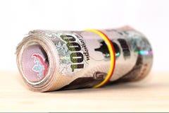 Billete de banco tailandés de la moneda del baño Foto de archivo