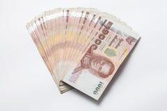 Billete de banco tailandés 1000 en todavía del fondo la vida blanca Fotografía de archivo libre de regalías