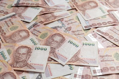 Billete de banco tailandés 1000 en todavía del fondo la vida blanca Foto de archivo libre de regalías