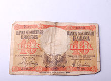 Billete de banco viejo de Albania, 10 leks Foto de archivo libre de regalías