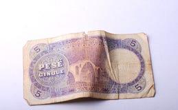 Billete de banco viejo de Albania, 5 leks Foto de archivo