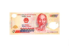 Billete de banco vietnamita de Dong de la moneda 200.000 Imagen de archivo