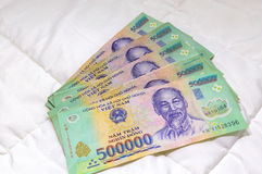 Billete de banco vietnamita de Dong del dinero 500.000 Fotografía de archivo libre de regalías