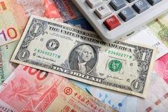 Billete de banco y calculadora del dólar de EE. UU. Foto de archivo libre de regalías