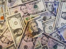 billete de banco y fondo de 20 dólares con los billetes de banco del dólar Fotografía de archivo