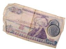 Billete de banco y monedas turcos viejos Imágenes de archivo libres de regalías