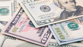 Billete de dólar americano del dinero veinte del primer Retrato de Andrew Jackson, los E.E.U.U. macro del fragmento del billete d Fotografía de archivo