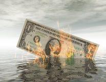 Billete de dólar ardiente Foto de archivo libre de regalías