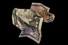 Billete de dólar arrugado cincuenta aislado en fondo negro fotos de archivo libres de regalías