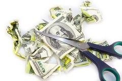 Billete de dólar arrugado en un fondo blanco Foto de archivo libre de regalías