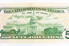 Billete de dólar cincuenta Fotografía de archivo libre de regalías