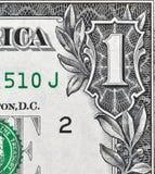 Billete de dólar de la esquina, primer de los E.E.U.U. uno Fotografía de archivo libre de regalías