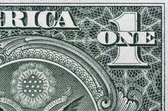 Billete de dólar de la esquina, primer de los E.E.U.U. uno Imagenes de archivo