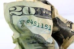 Billete de dólar de la moneda veinte de Estados Unidos Foto de archivo