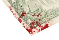 Billete de dólar de los E.E.U.U. uno, cierre para arriba, sangre Fotografía de archivo libre de regalías