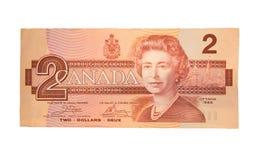 Billete de dólar del canadiense dos del vintage Imagen de archivo libre de regalías