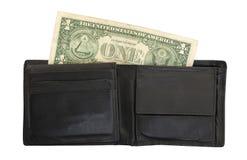 Billete de dólar en una cartera, cierre de los E.E.U.U. uno para arriba Foto de archivo